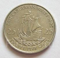 Восточно-карибские острова 25 центов 1989 год (иностранные монеты)
