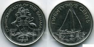 Багамские острова 25 центов 1991 год (иностранные монеты)