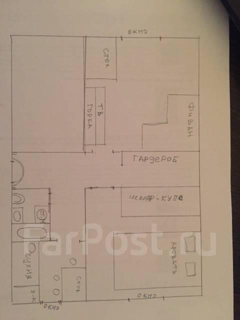 2-комнатная, проспект Океанский 107. Первая речка, 48кв.м. План квартиры