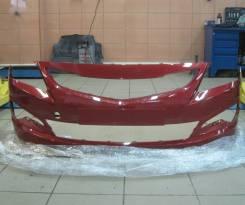 Бампер передний оригинальный Hyundai Solaris NEW 2015 (цвет красный)