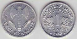 Франция 1 франк 1942 год (иностранные монеты)