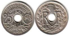 Франция 25 сантим 1927 год (иностранные монеты)