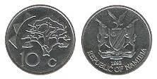 Намибия 10 центов 1993 год (иностранные монеты)