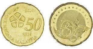 Малайзия 50 сен 2014 год (иностранные монеты)