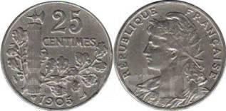 Франция 25 сантимов 1904 (иностранные монеты)