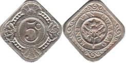 Нидерланды 5 центов 1913 год (иностранные монеты)