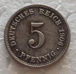 5 пфеннигов 1906 года. D