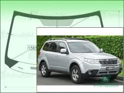 Лобовое стекло Subaru FORESTER 2008-2013 (SH) обогрев для LHD (Зеленоватый оттенок с зеленым козырьком, Бренд:ВSG)