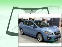 Лобовое стекло Subaru IMPREZA 2011-2016 (GJ-GP)(LHD ) окна/датчики Impreza G4 (Зеленоватый оттенок с зеленым козырьком, Бренд:ВSG)