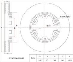 Диск тормозной передний NS Atlas F23, Caravan E24, 93- ST-40206-20N01 Nissan NP300, YD25