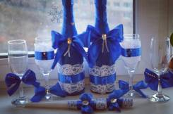 Бокалы и украшения на бутылки. Под заказ