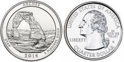 25 центов 2014 Юта Национальный парк Арки