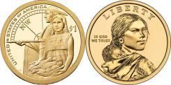 1 доллар 2014 Помощь индейцев экспедиции Льюиса и Кларка