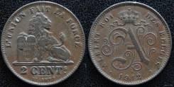 Бельгия 2 сантима 1912 год (иностранные монеты)