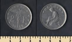 Бельгия 2 франка 1923 год (иностранные монеты)