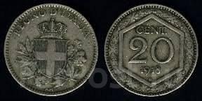 Италия 20 чентезимо 1918 год (иностранные монеты)