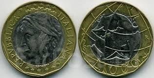 Италия 1000 лир 1998 год (иностранные монеты)