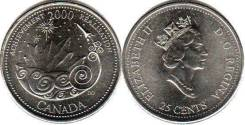 Канада 25 центов 2000 год