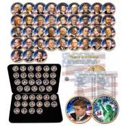 Предзаказ: США 1 доллар 2007-2016 Президенты 39 шт. Цветные в футляре,. Под заказ
