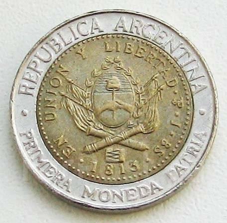 Аргентина. 1 песо 2013 г .200 лет нац. валюте