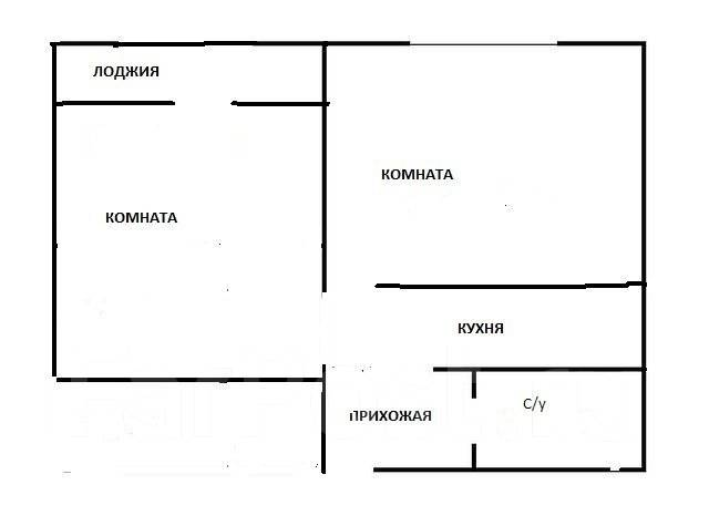 2-комнатная, улица Снеговая 125. Снеговая, проверенное агентство, 33 кв.м. План квартиры