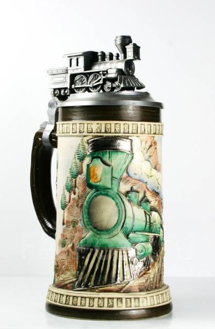 Фарфоровая коллекционная кружка с паровозом на оловянной крышке
