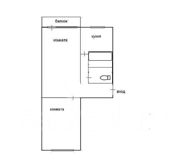 2-комнатная, улица Космонавтов 17. Тихая, агентство, 46 кв.м. План квартиры