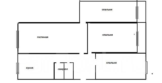 4-комнатная, улица Новожилова 31. Борисенко, агентство, 76 кв.м. План квартиры