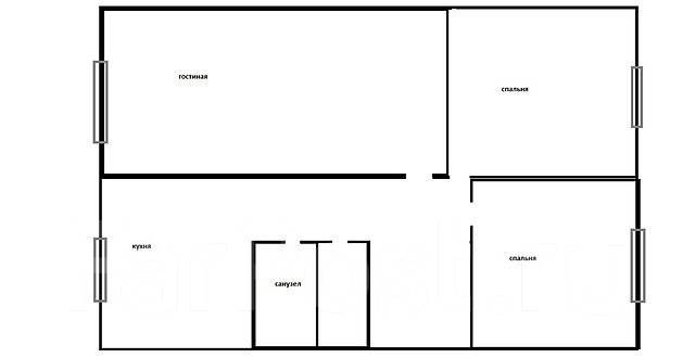 3-комнатная, улица Нерчинская 42. Центр, агентство, 61 кв.м. План квартиры