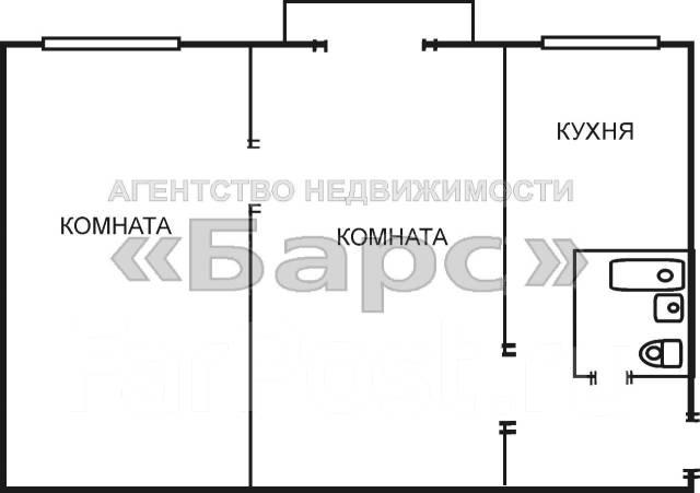 2-комнатная, улица Кутузова 8б. Вторая речка, проверенное агентство, 45 кв.м. План квартиры