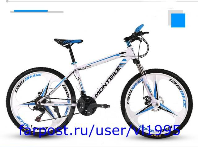 Горный велосипед переменной скоростью. 24d цвет бело-голубой. Под заказ