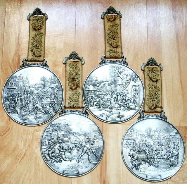 """Четыре шикарных оловянных медальона на подвесках. """"Времена года"""""""