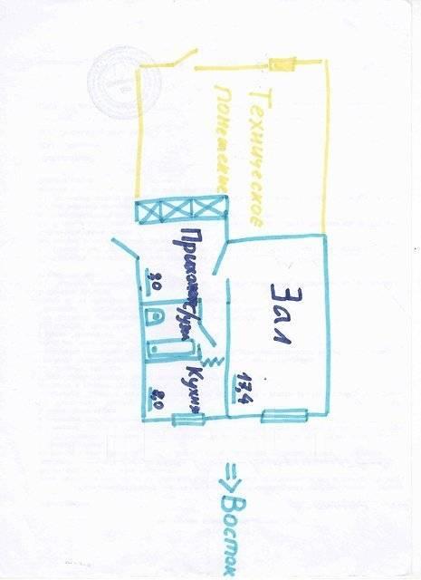 1-комнатная, улица Кирова 54. Вторая речка, частное лицо, 34 кв.м. План квартиры