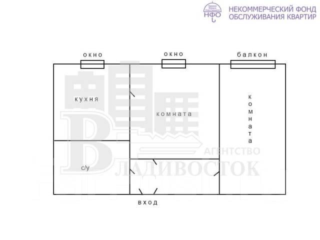 2-комнатная, проспект 100-летия Владивостока 120а. Вторая речка, агентство, 56 кв.м. План квартиры