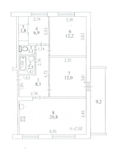 3-комнатная, улица Комсомольская 71/4. Центральный, частное лицо, 65 кв.м. План квартиры
