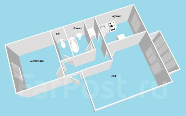 2-комнатная, улица Светланская 173. Центр, проверенное агентство, 46 кв.м. План квартиры
