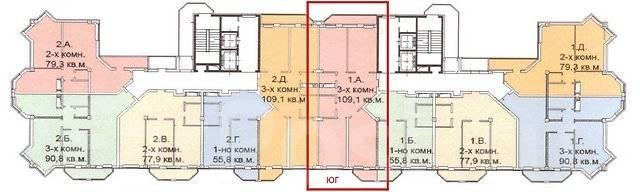 3-комнатная, улица Кирова 25д. Вторая речка, частное лицо, 109 кв.м. План квартиры