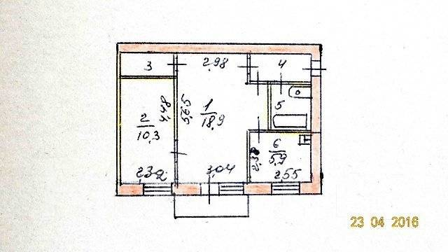 2-комнатная, улица Рабочая 1-я 66. Берзарино, агентство, 45 кв.м. План квартиры