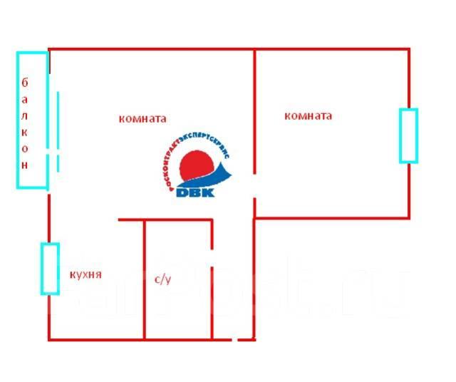 2-комнатная, улица Сахалинская 53а. Тихая, агентство, 45 кв.м. План квартиры