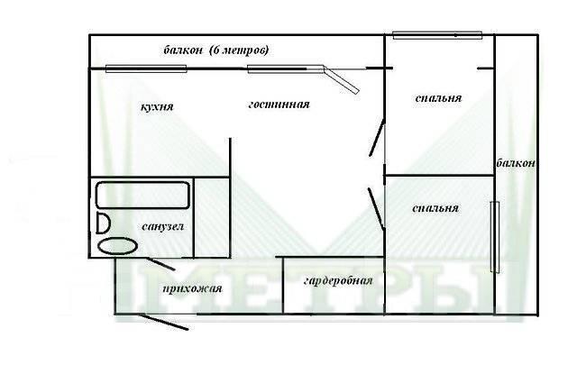 2-комнатная, улица Калинина 21. Чуркин, агентство, 44 кв.м. План квартиры