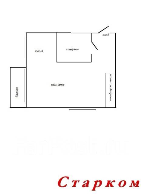 1-комнатная, улица Военное Шоссе 19. Некрасовская, проверенное агентство, 31 кв.м. План квартиры