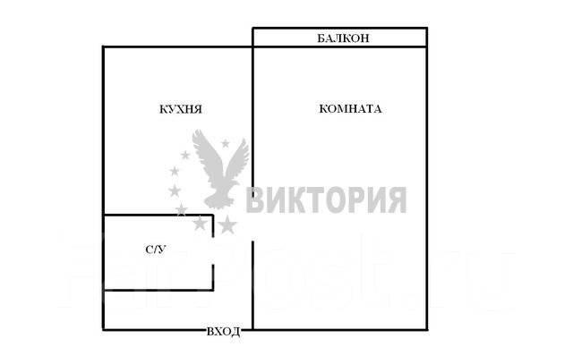 1-комнатная, улица Карьерная 26. Снеговая, агентство, 28 кв.м. План квартиры