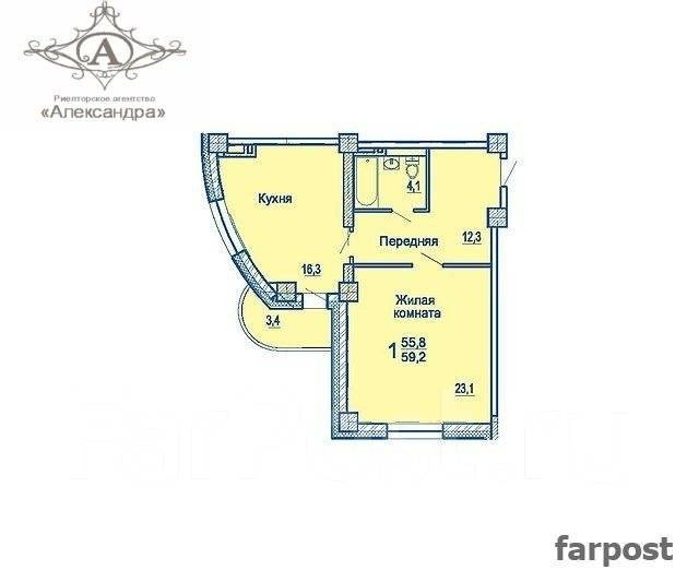 2-комнатная, улица Сабанеева 16в. Баляева, агентство, 59 кв.м. План квартиры