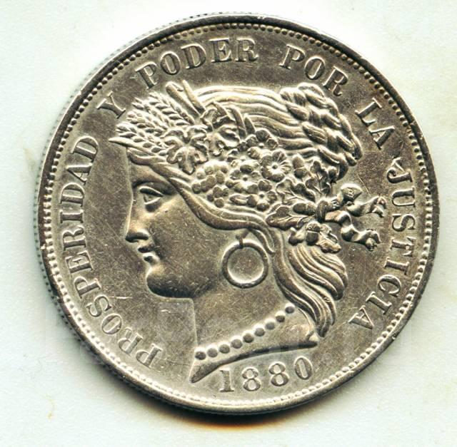 Перу 5 песет 1880 Серебро