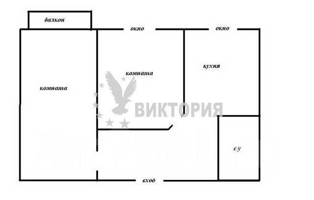2-комнатная, улица Запорожская 2. Чуркин, агентство, 48 кв.м. План квартиры