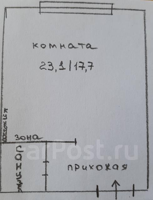 Гостинка, улица Тухачевского 48. БАМ, агентство, 23 кв.м. План квартиры