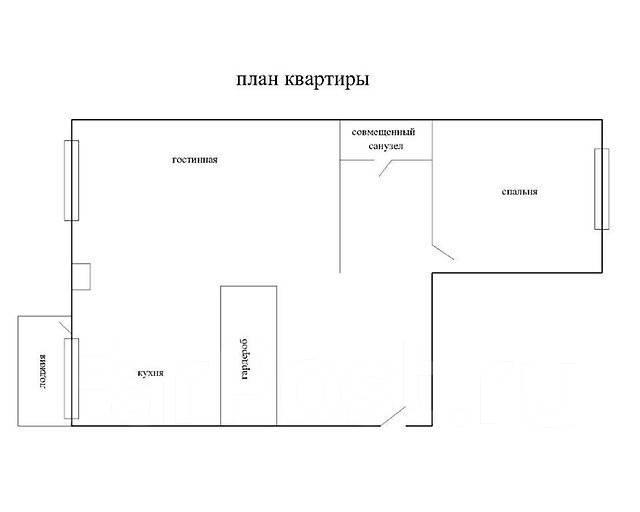 2-комнатная, улица Маковского 193а. Океанская, агентство, 56 кв.м. План квартиры