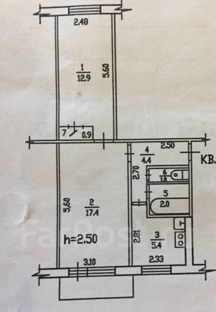 2-комнатная, Ворошилова. Индустриальный, частное лицо, 45 кв.м. План квартиры