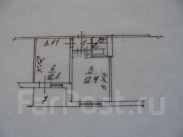 1-комнатная, улица Липовая 2. Чуркин, агентство, 32 кв.м. План квартиры