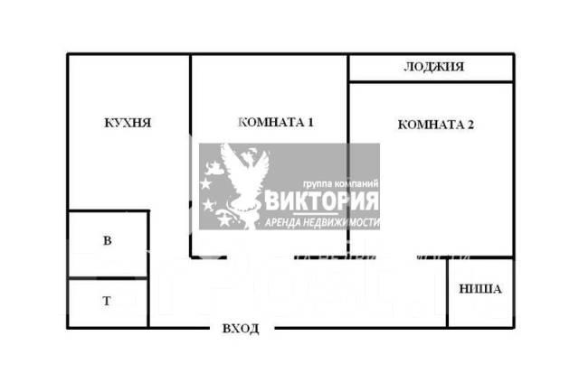 2-комнатная, улица Нейбута 30. 64, 71 микрорайоны, агентство, 52 кв.м. План квартиры